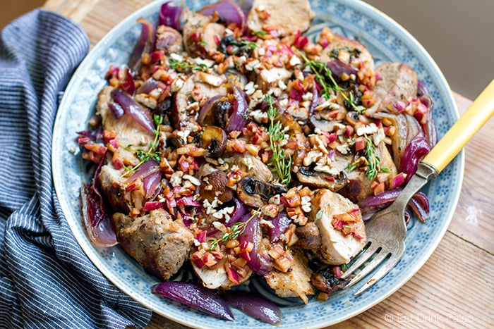 Pork tenderloin with balsamic onions