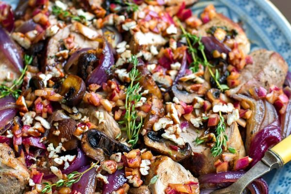 Roasted Pork Tenderloin With Mushrooms, Thyme & Balsamic Onions