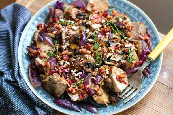 Roasted Pork Tenderloin With Mushrooms, Thyme & Balsamic Onions