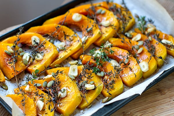 Roasted Kabocha Squash With Thyme & Garlic