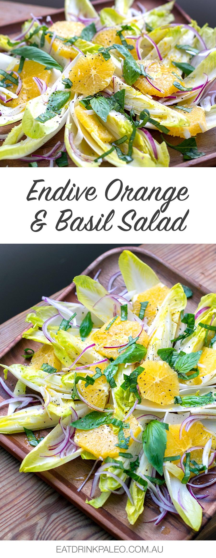 Endive Orange & Basil Salad (Paleo, Gluten-free, Vegan)