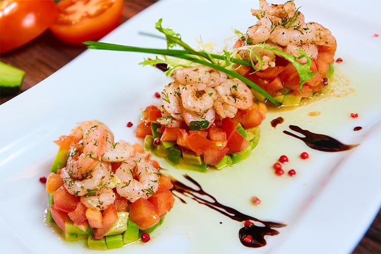 Festive Shrimp Avocado & Tomato Salad Stacks