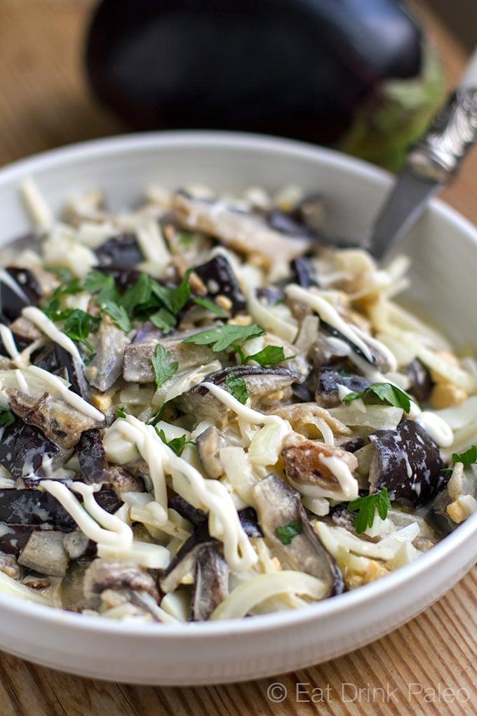 Creamy eggplant salad (paleo, gluten-free, vegetarian, Whole30)