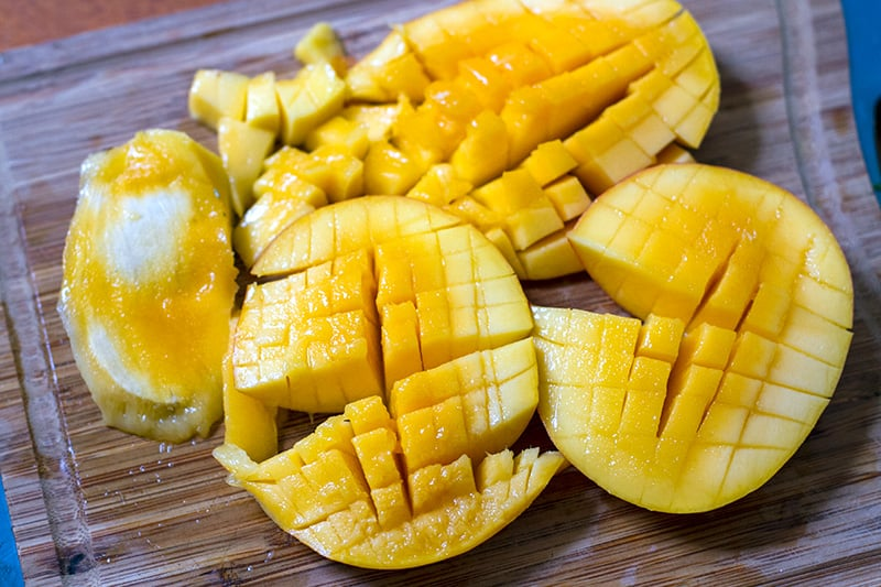 Finely diced mango for salsa
