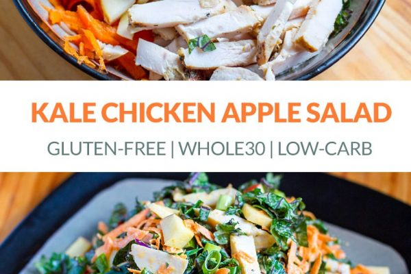 Beautiful kale salad with chicken, apple, carrots and mayonnaise (Whole30, Paleo, Gluten-Free) | #kale #chicken #salad #paleo #whole30 #glutenfree