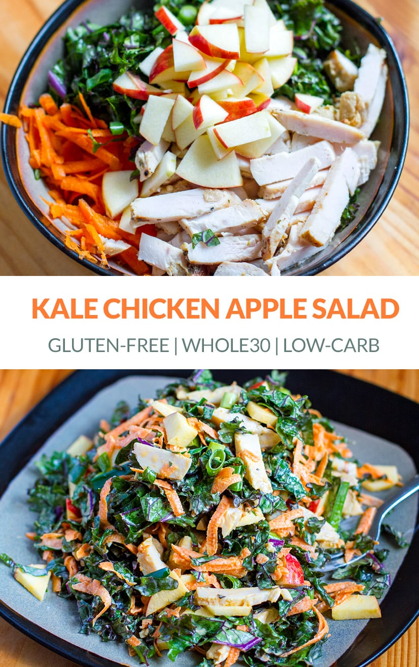 Chicken & Kale Salad With Apple (Paleo, Whole30)
