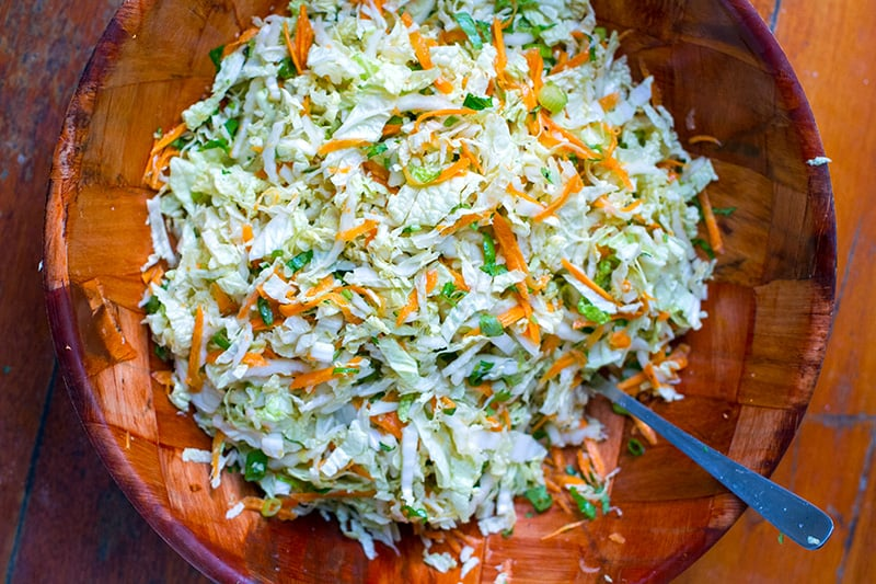 Napa Cabbage Salad With Honey Lime Ginger Dressing