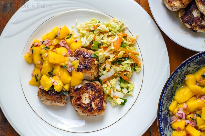 Paleo Chicken Rissoles With Mango Salsa & Cabbage Salad