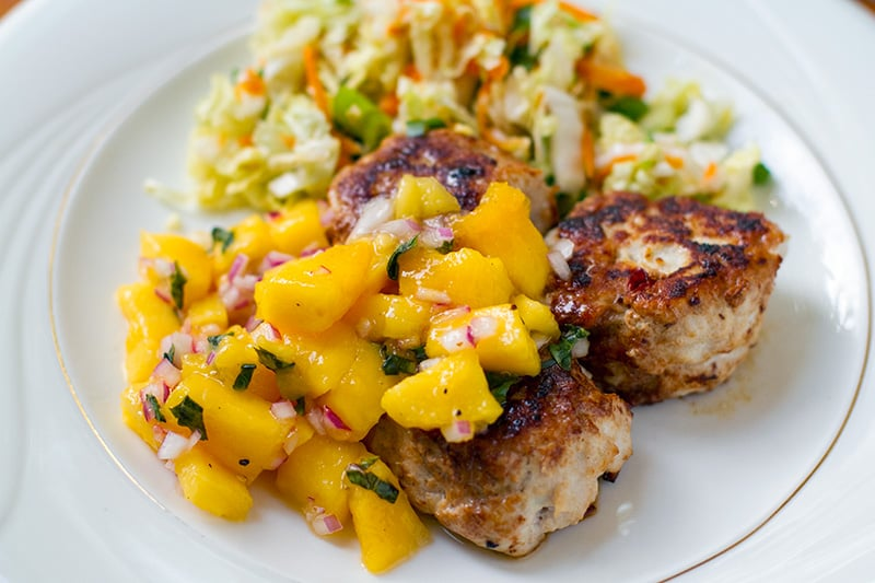 Chicken Rissoles With Mango Salsa