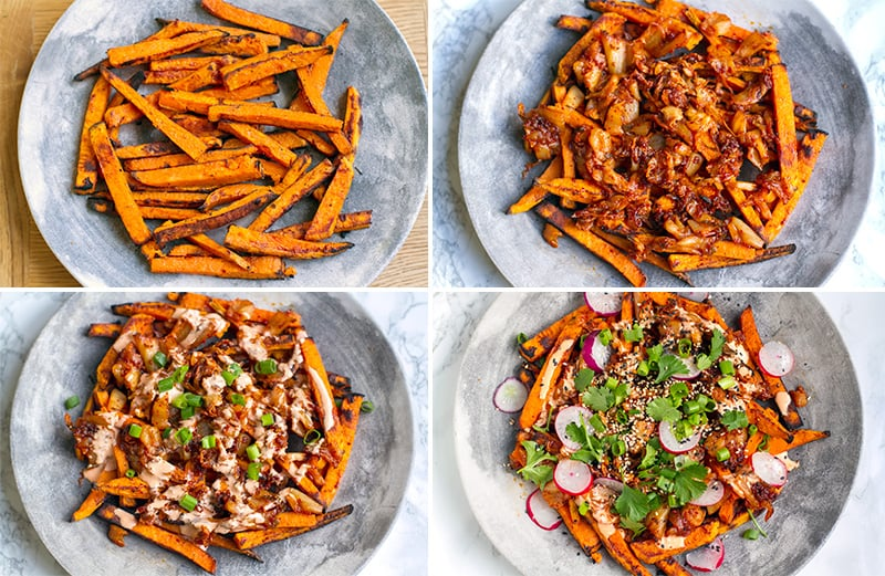 Making paleo kimchi fries step by step
