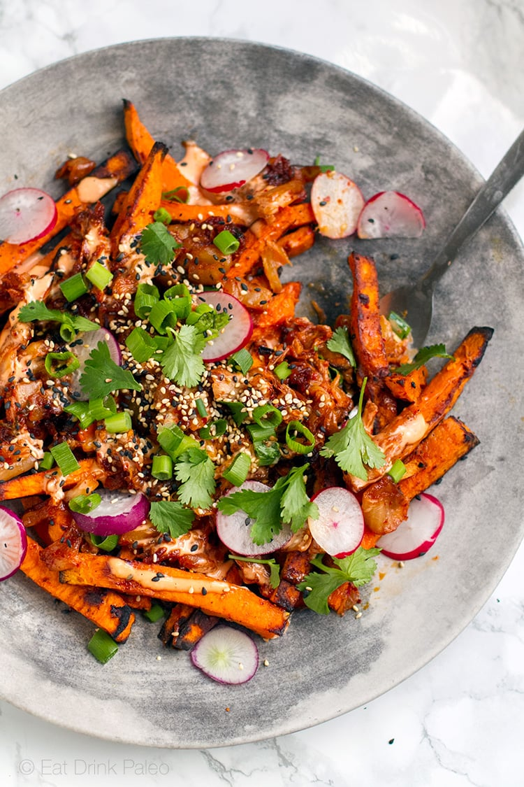 Paleo Kimchi Fries (Gluten-free, Vegetarian, Nut-free)