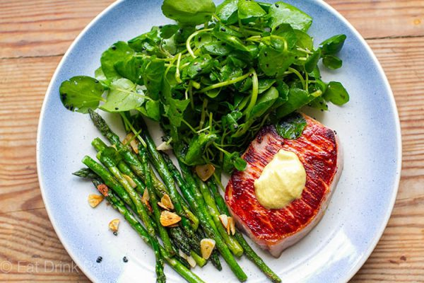 Quick & Easy Pork Steaks With Garlic Asparagus & Watercress Salad