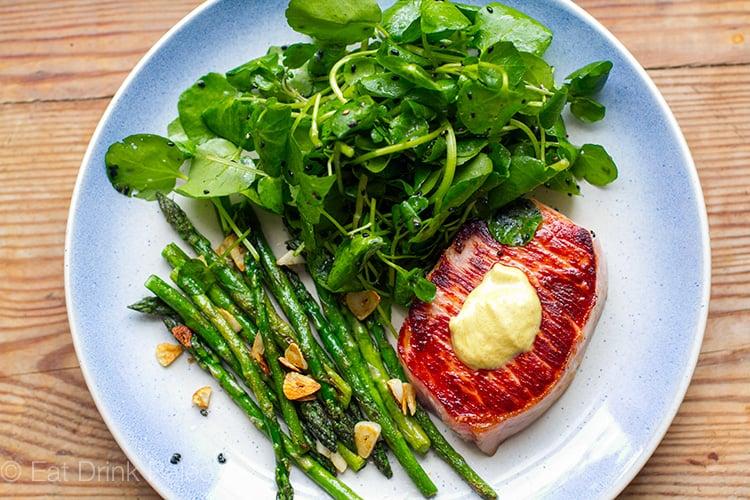Quick & Easy Pork Steaks With Garlic Asparagus & Watercress Salad