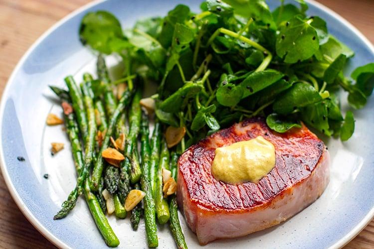 Paleo Pork Steaks With Mustard & Garlic Asparagus