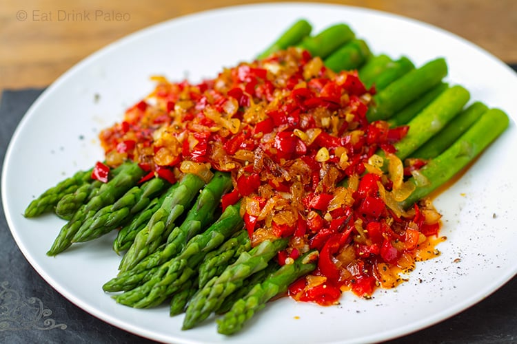 Spanish Inspired Asparagus With Red Peppers, Onion & Garlic
