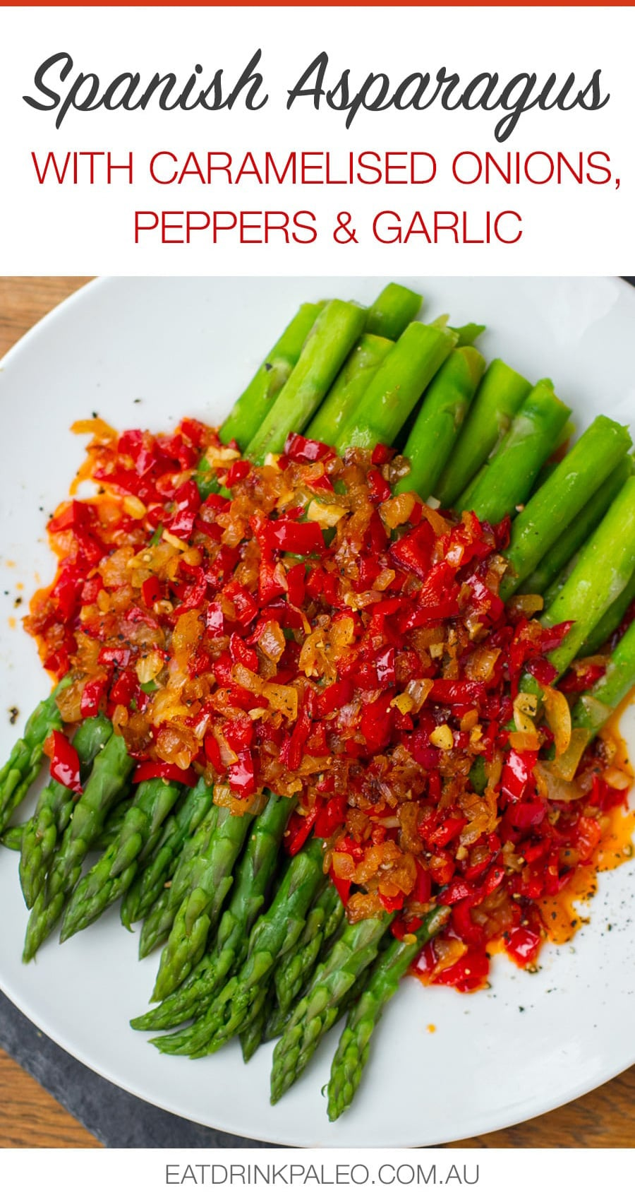 Spanish Style Asparagus With Red Peppers, Onions and Garlic
