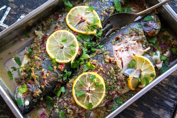 Whole Baked Trout With Herb Salsa & Lemon