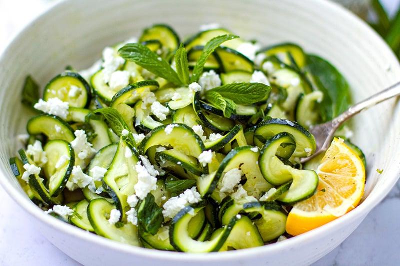 Zucchini feta salad with mint and lemon