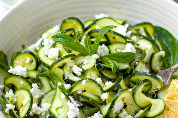 Zucchini Salad With Mint & Lemon (+ Feta or Parmesan)