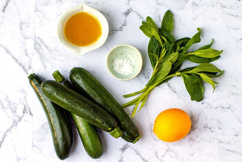 Zucchini salad ingredients