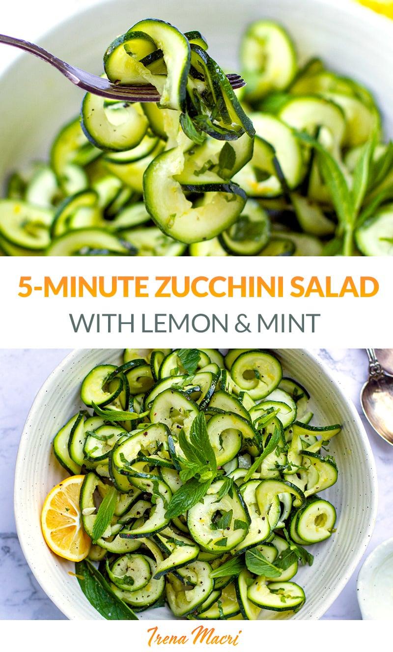 5-Minute Zucchini Salad With Mint & Lemon (Paleo, Whole30, Keto)