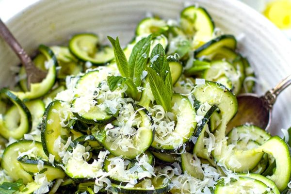 Raw Zucchini Salad With Mint & Lemon (With Parmesan or Feta on Top)