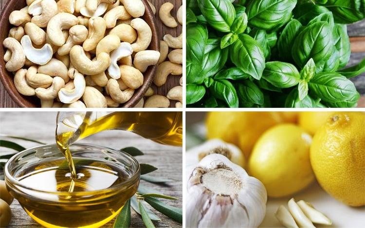 Cashew pesto ingredients