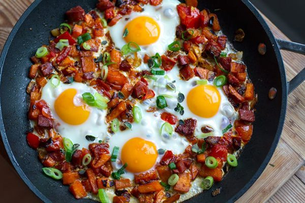 Chorizo & Sweet Potato Skillet Eggs