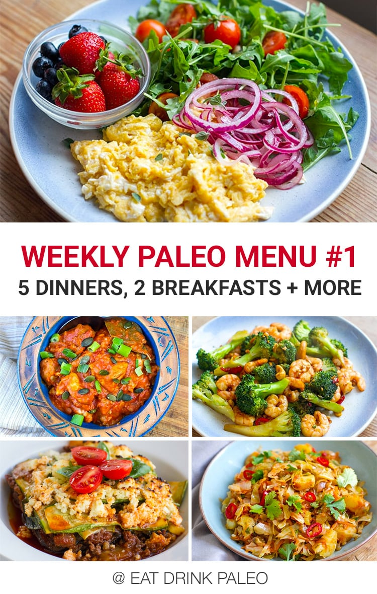 Weekly Paleo Meal Plan #1 - 5 dinners, 2 breakfasts and a condiment for the week