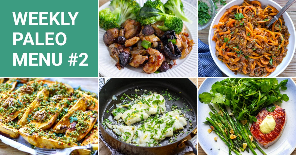 Free Paleo Meal Plan - 5 dinners, 2 breakfasts and 1 treat
