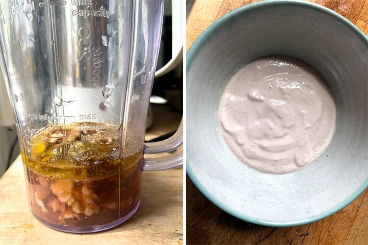 Making the walnut dressing for the Georgian salad