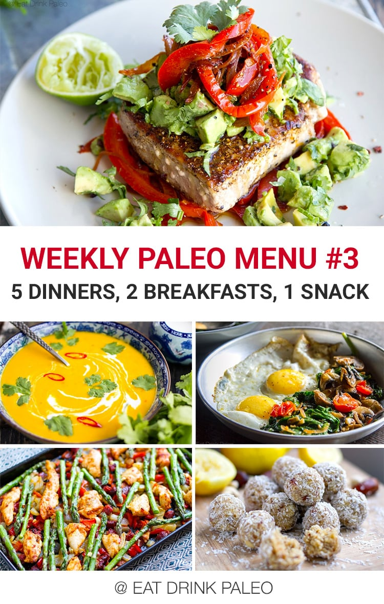 Weekly Paleo Meal Plan Menu #3 - 5 dinners, 2 breakfasts and 1 snack