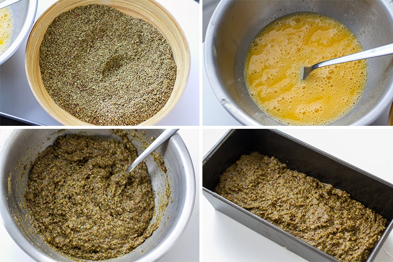 Mixing hemp flour with almond meal and linseed and whisking the eggs