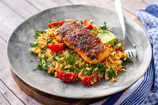 Cajun paleo salmon with cauliflower rice