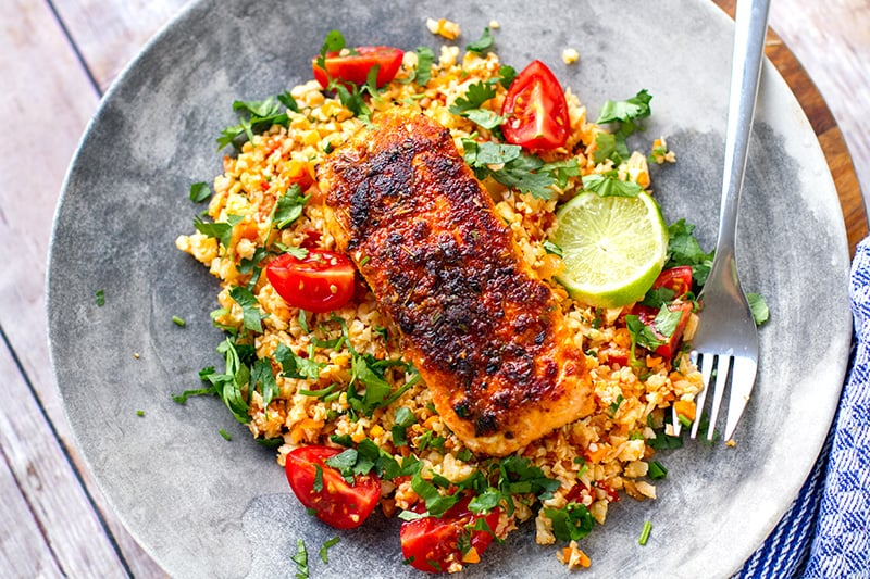 Paleo Cajun salmon with tomato cauliflower rice