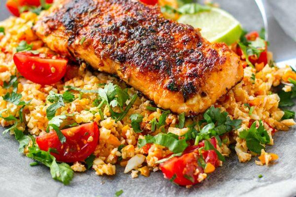 Paleo Cajun salmon with tomato cauliflower rice