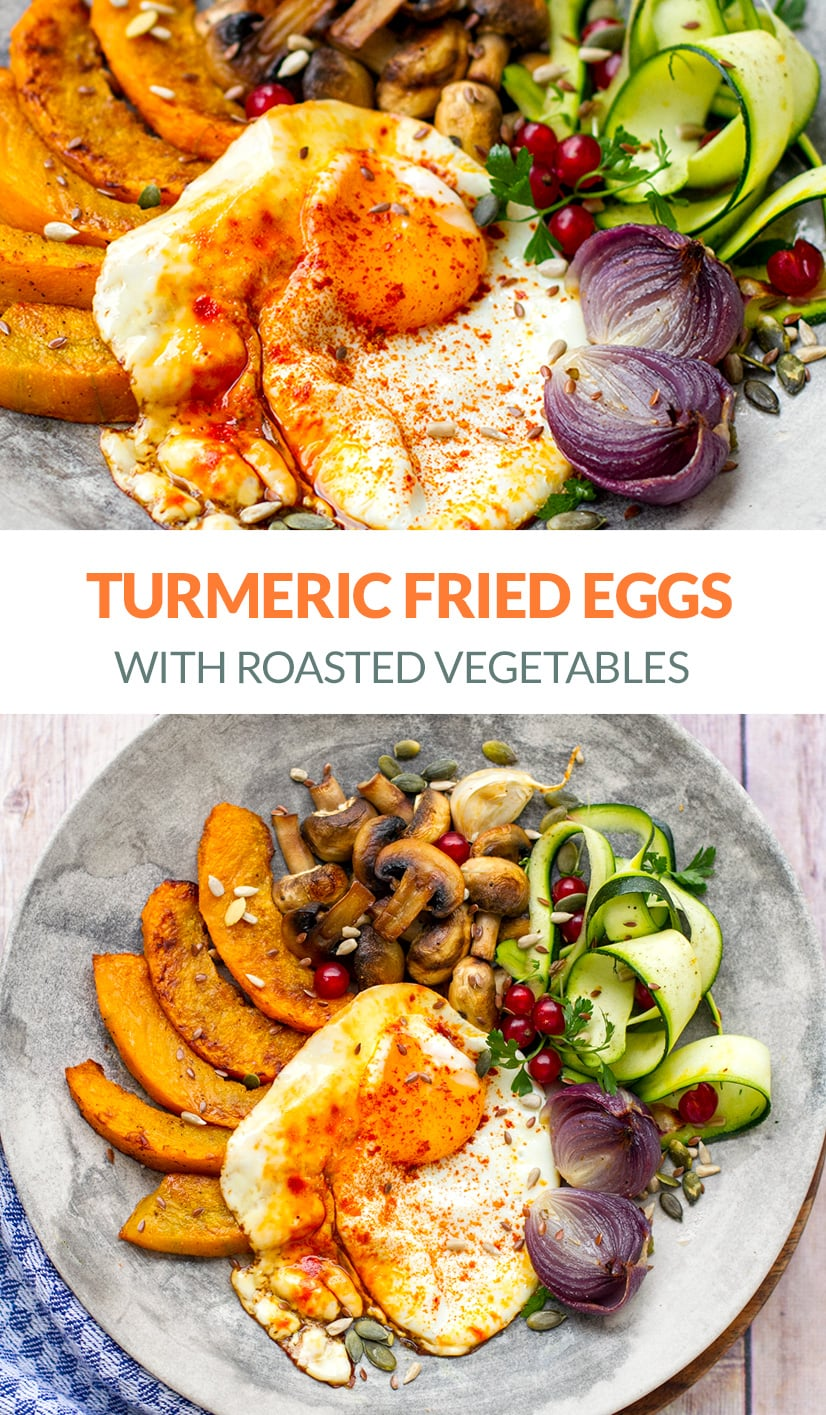 Turmeric Fried Eggs With Roast Vegetables (Paleo, Whole30)