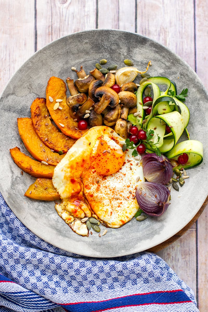 Turmeric Fried Eggs With Roasted Pumpkin