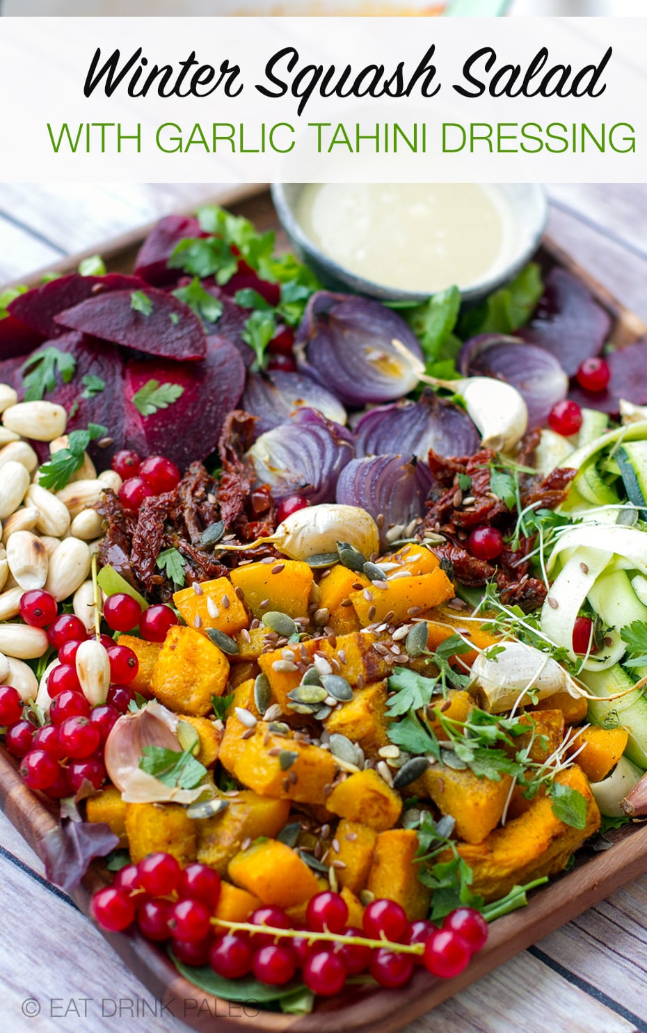 Fabulous fall salad with roasted kabocha winter squash, zucchini, beets, and tahini garlic dressing (Paleo, Gluten-Free, Grain-Free)