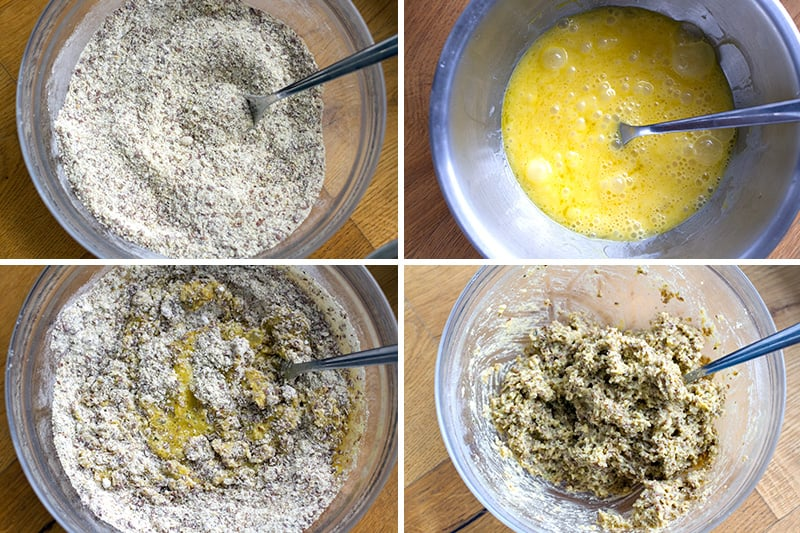Step-by-step photos for how to make paleo bread mixture
