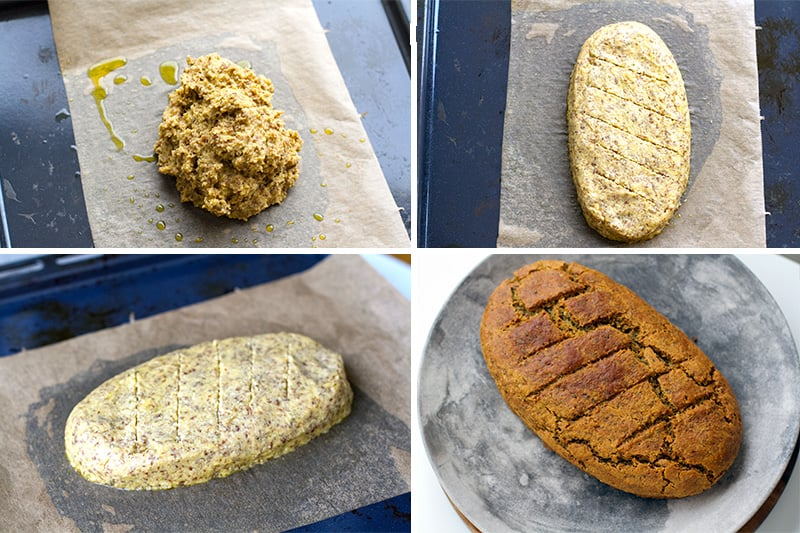 Shaping and baking paleo bread without a baking tin