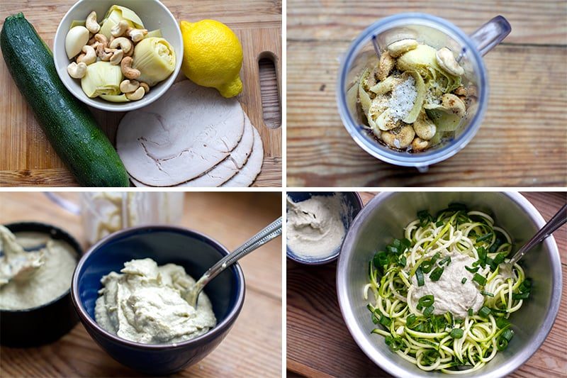 Steps for making my raw zucchini pasta with artichoke cream sauce