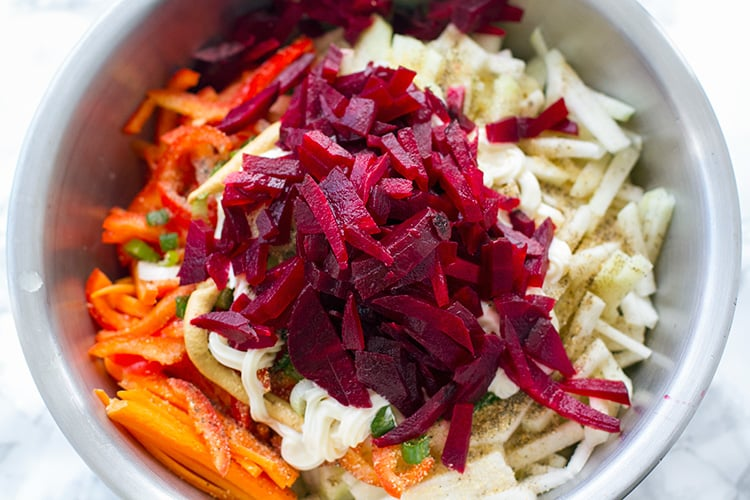 Making beetroot coleslaw