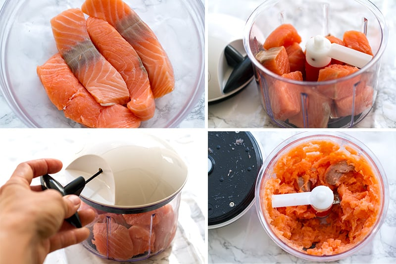 How to make salmon mince using a hand-held food processor