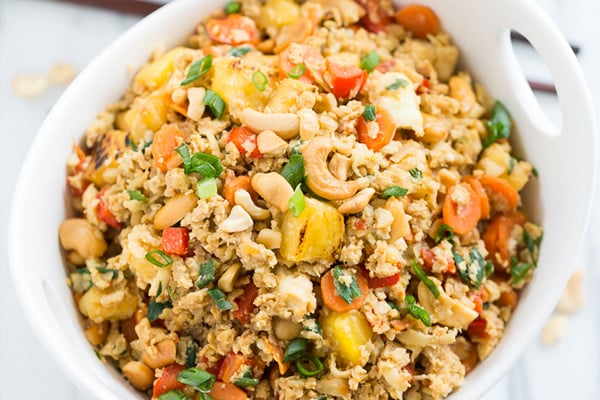 Paleo fried rice with pineapple