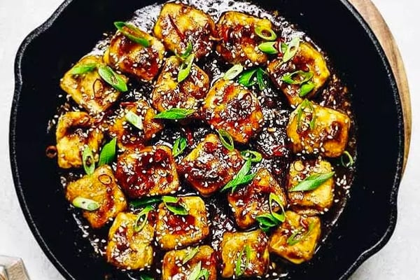 Paleo tofu with sesame dressing
