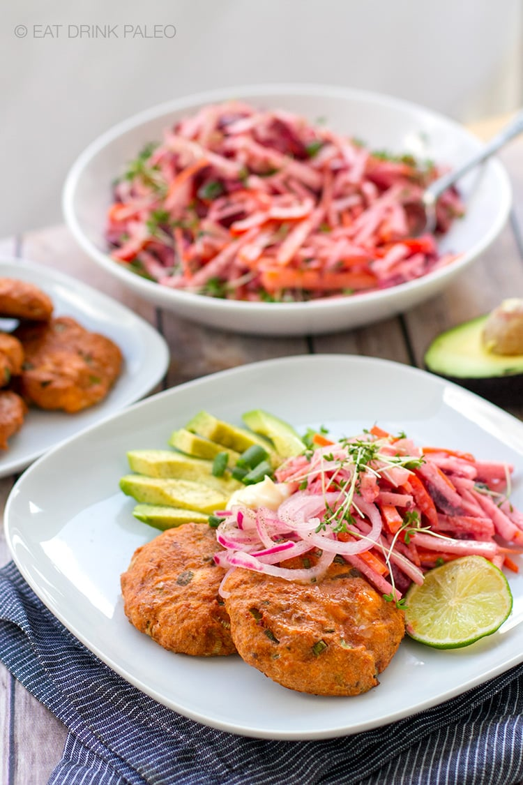 Salmon & Beet Cakes With Pink Slaw, Avocado & Pickled Onions (Paleo, Whole30, Gluten-free)