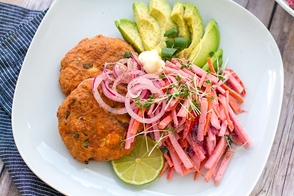 Salmon Beet Burgers With Pink Coleslaw, Avocado & Pickled Onions