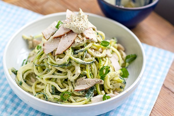Raw Zucchini Paleo Pasta With Creamy Artichoke Sauce & Turkey