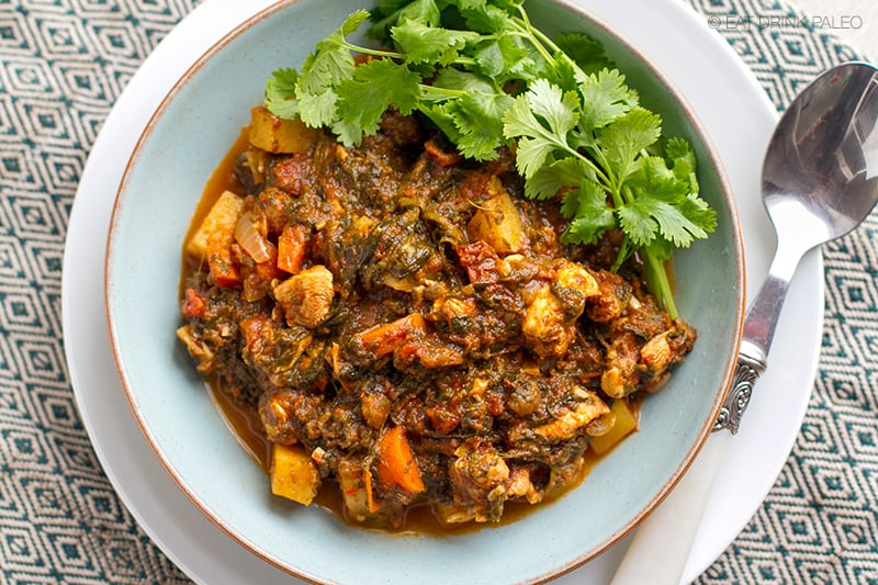 Moroccan chicken stew with spinach & sun-dried tomatoes (Paleo, gluten-free)
